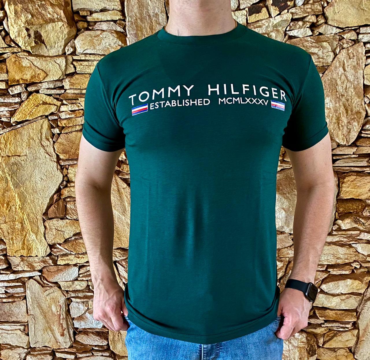 Camiseta Masculina Tommy Hilfiger Algodão Estampada - Verde