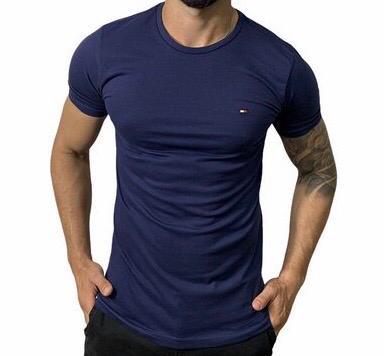 Camiseta Masculina Tommy Hilfiger Algodão Lisa - Azul Marinho