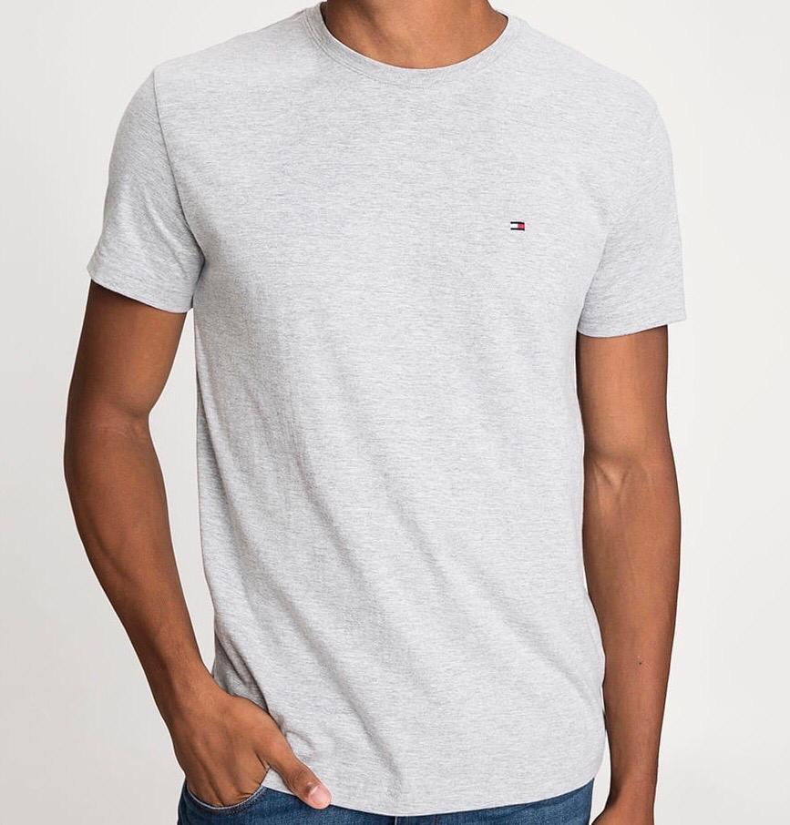 Camiseta Masculina Tommy Hilfiger Algodão Lisa - Cinza Claro