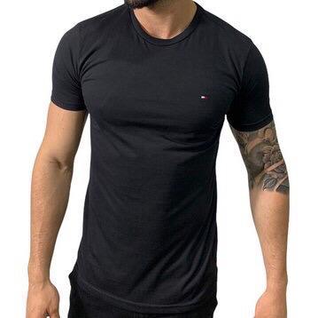 Camiseta Masculina Tommy Hilfiger Algodão Lisa - Preta