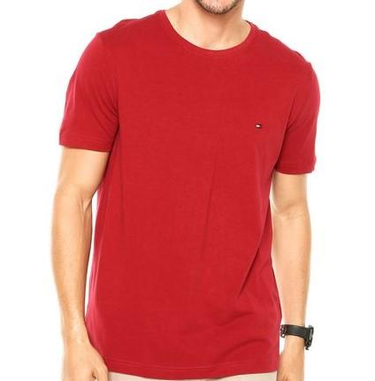 Camiseta Masculina Tommy Hilfiger Algodão Lisa- Vermelho Vinho
