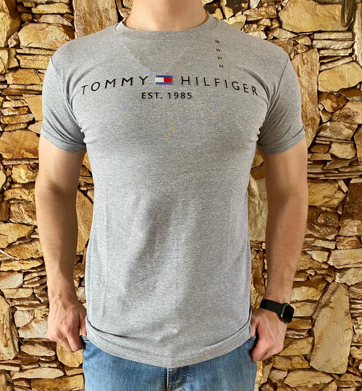 Camiseta Masculina Tommy Hilfiger Algodão Mescla - Cinza