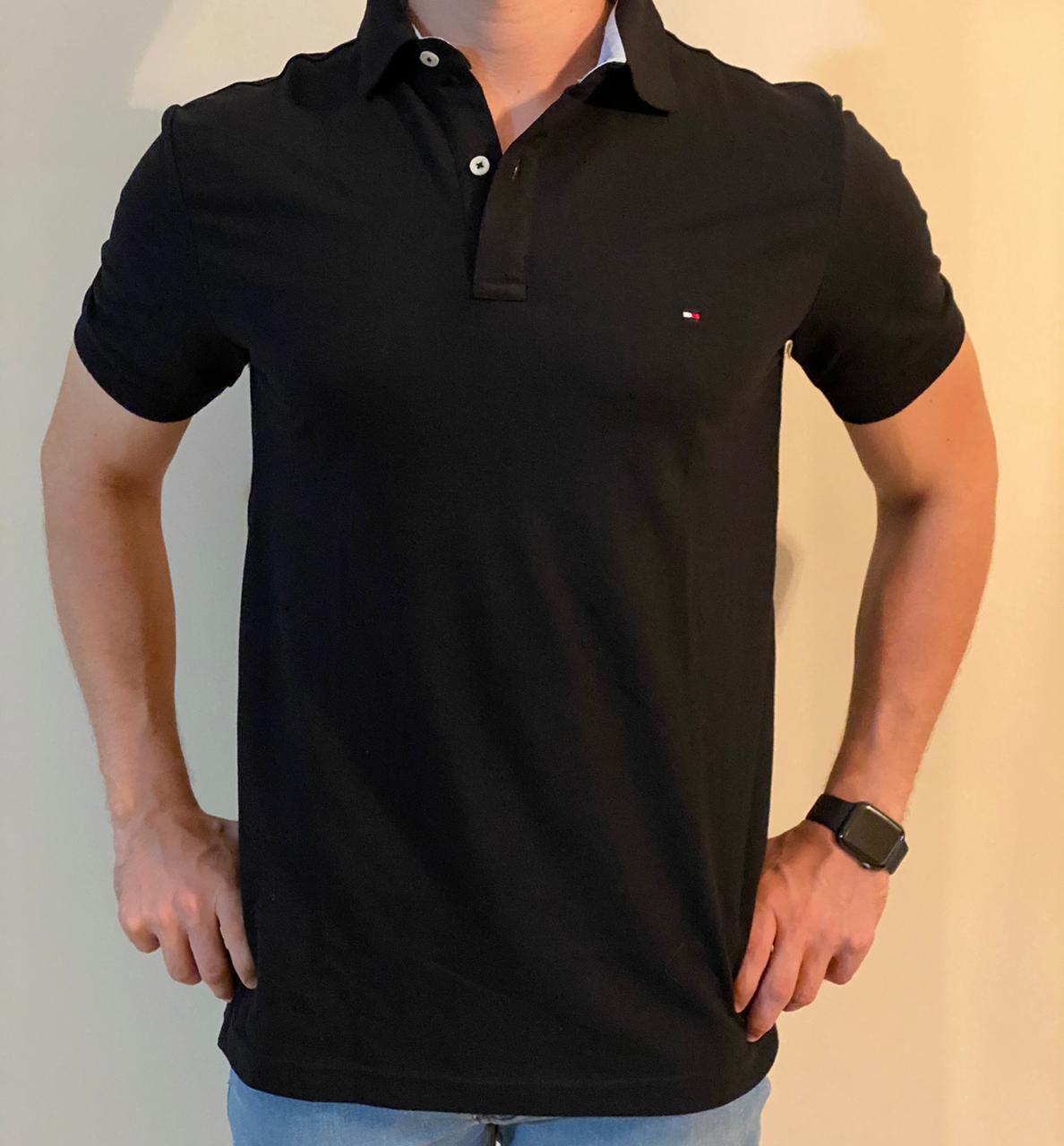 Camiseta Masculina Tommy Hilfiger Gola Polo Algodão Lisa - Preto