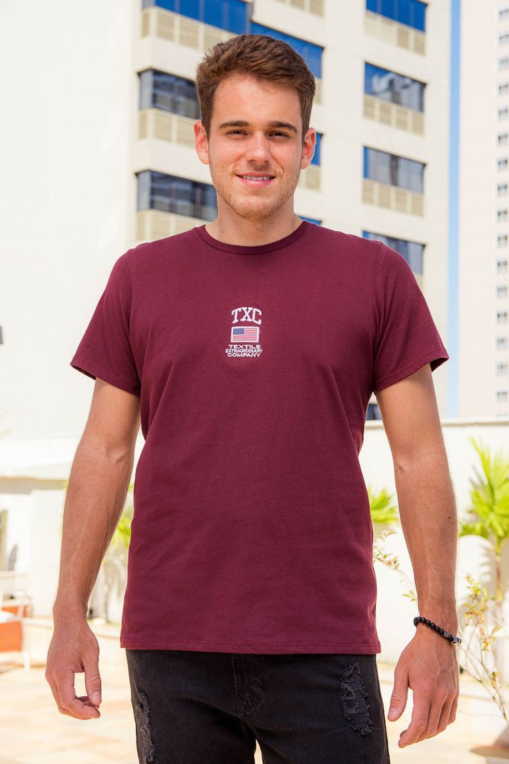 Camiseta Masculina Txc Algodão Lisa - Bordô