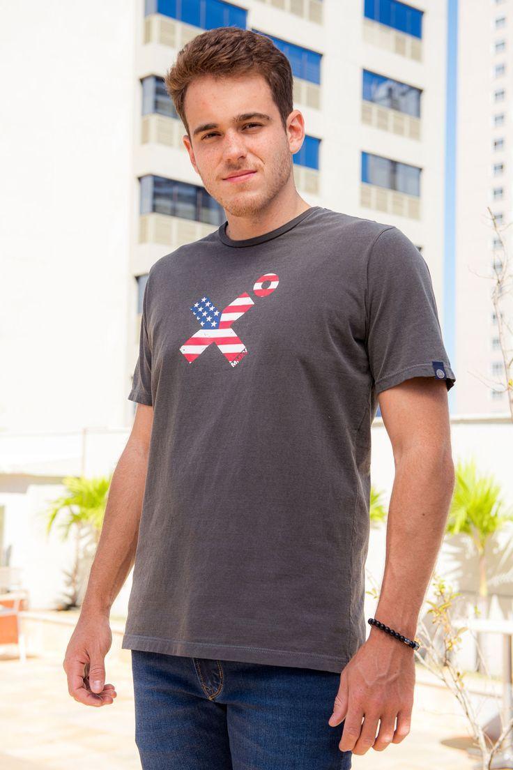 Camiseta Masculina Txc Algodão Lisa - Cinza Escuro