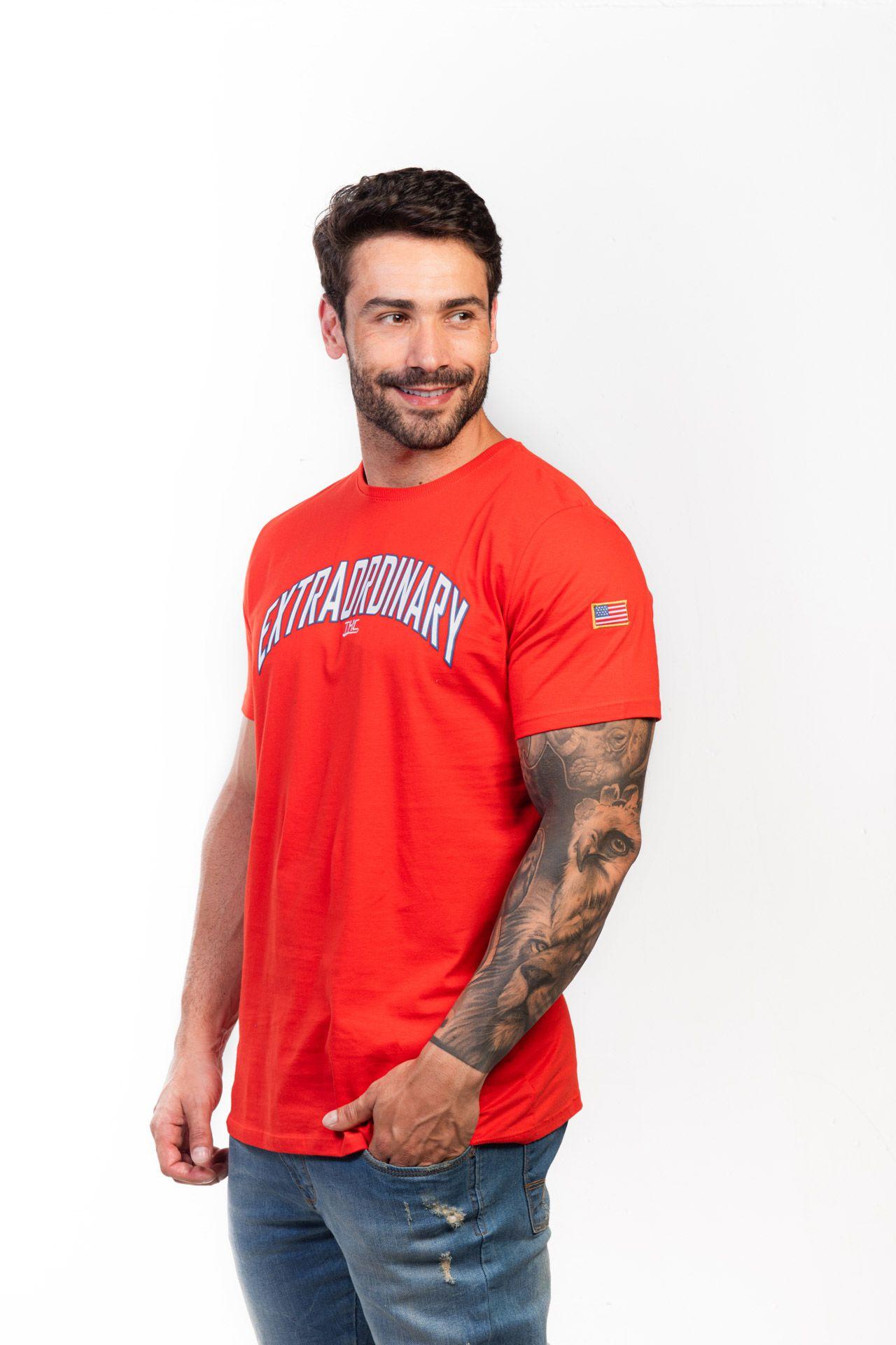 Camiseta Masculina Txc Algodão Lisa - Laranja