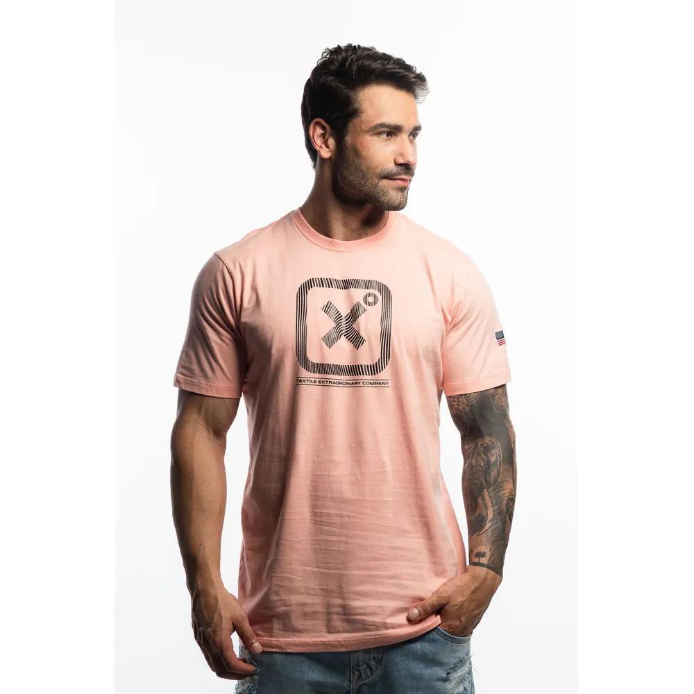 Camiseta Masculina Txc Algodão Lisa - Rosa Claro
