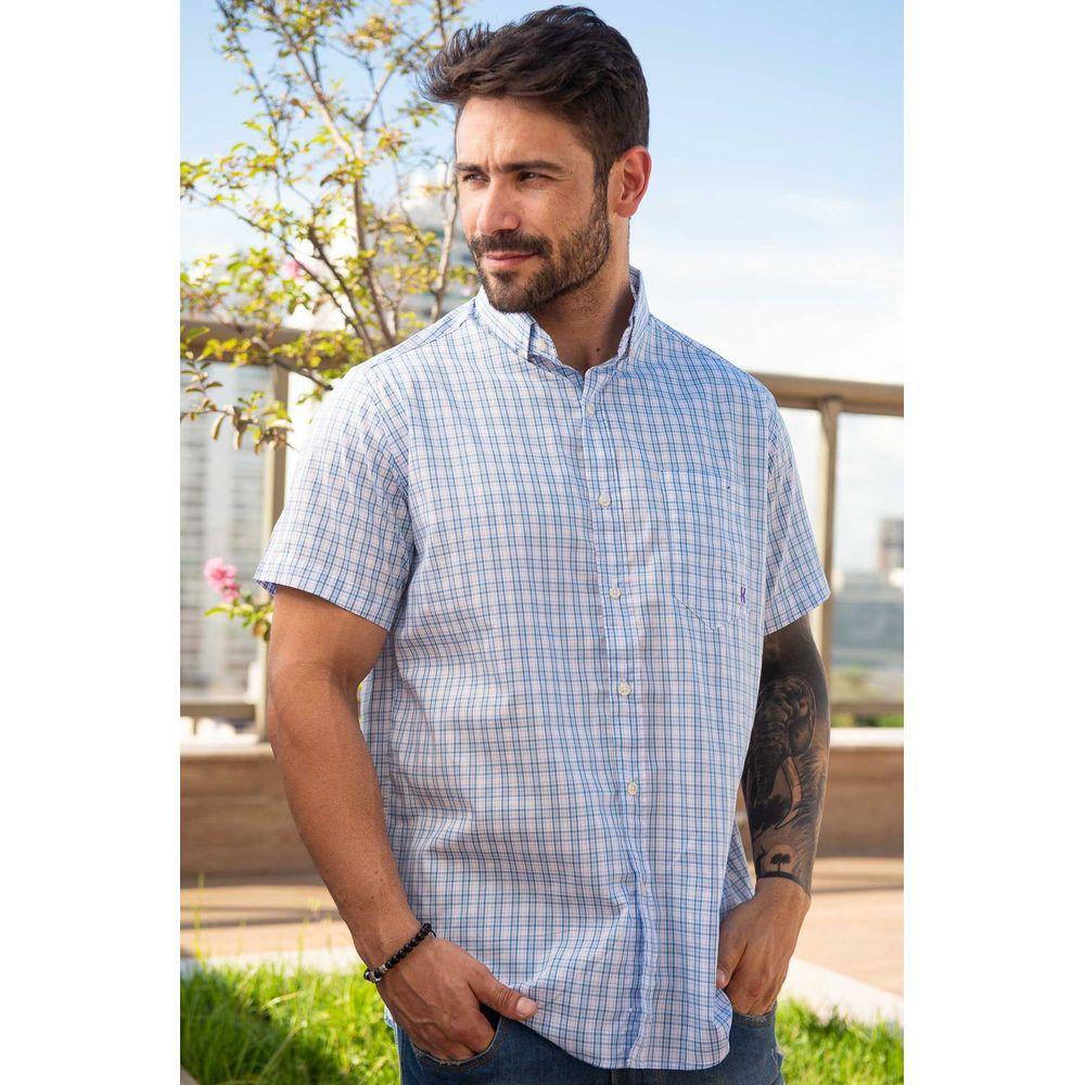 Camisa Masculina Txc Algodão Xadrez - Azul Claro e Branco