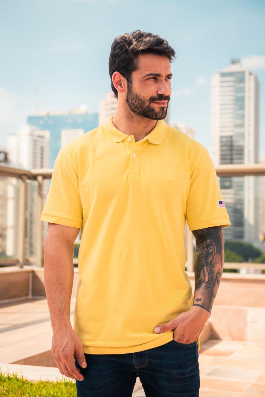 Camiseta Masculina Txc Gola Polo Algodão Lisa - Amarela
