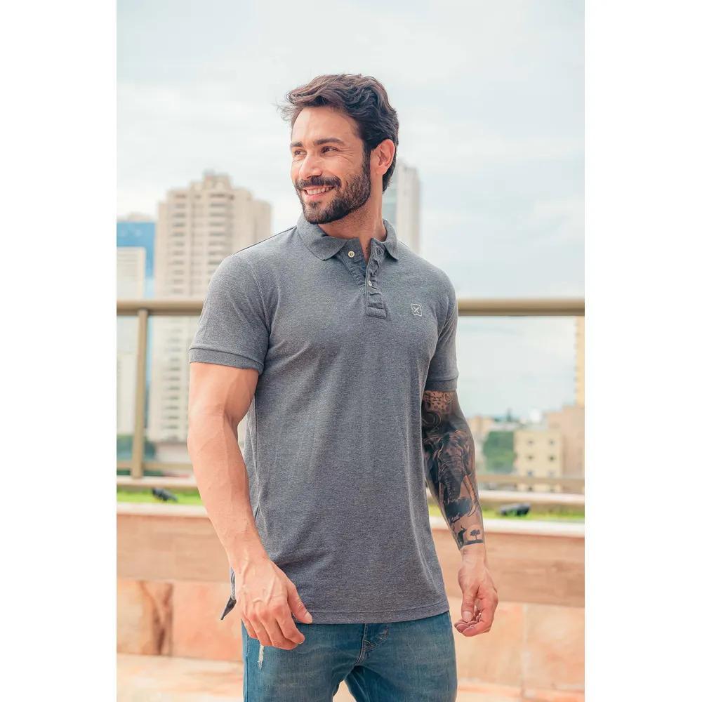 Camiseta Masculina Txc Gola Polo Algodão Lisa - Cinza Escuro