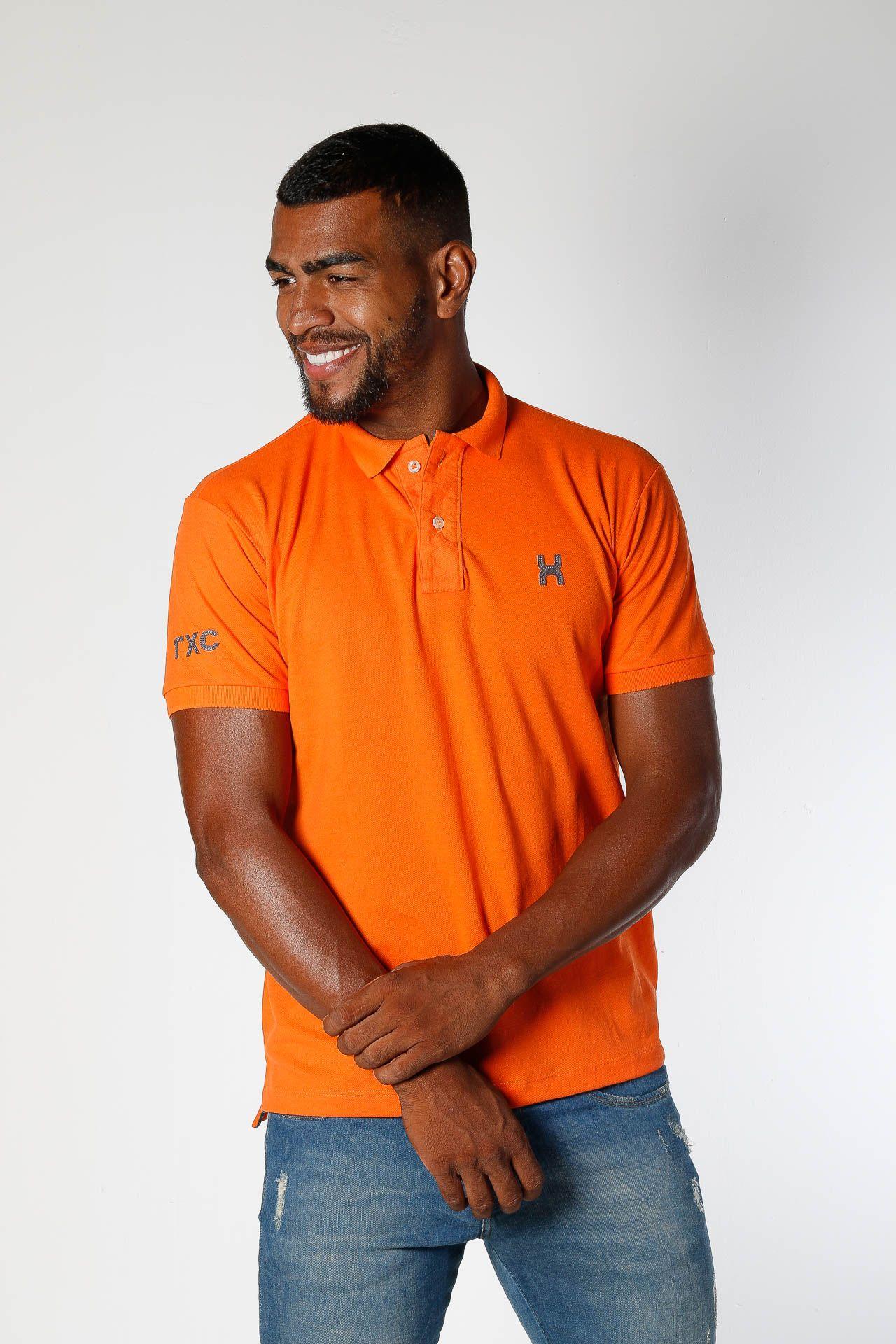 Camiseta Masculina Txc Gola Polo Algodão Lisa - Laranja