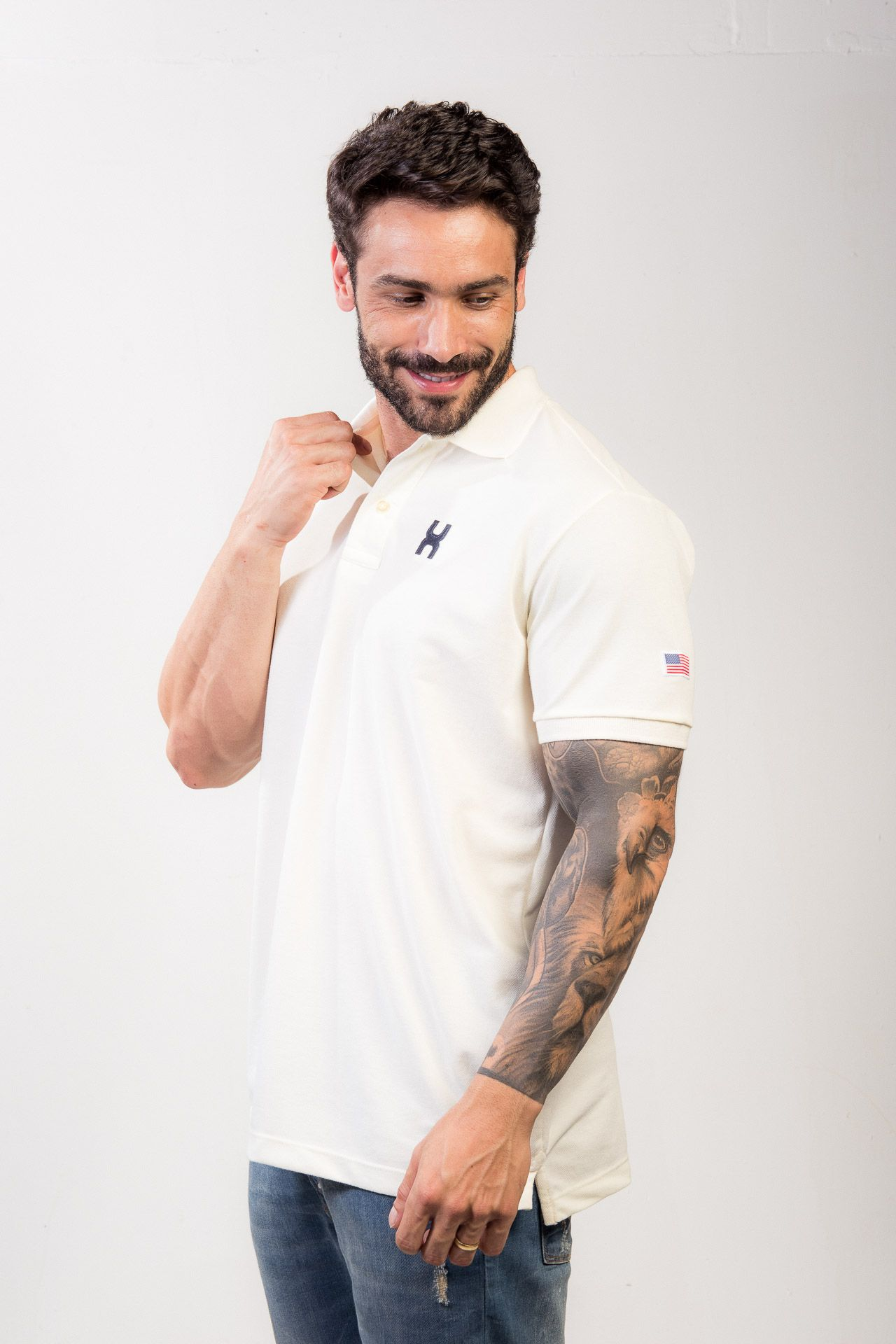 Camiseta Masculina Txc Gola Polo Algodão Lisa - Off