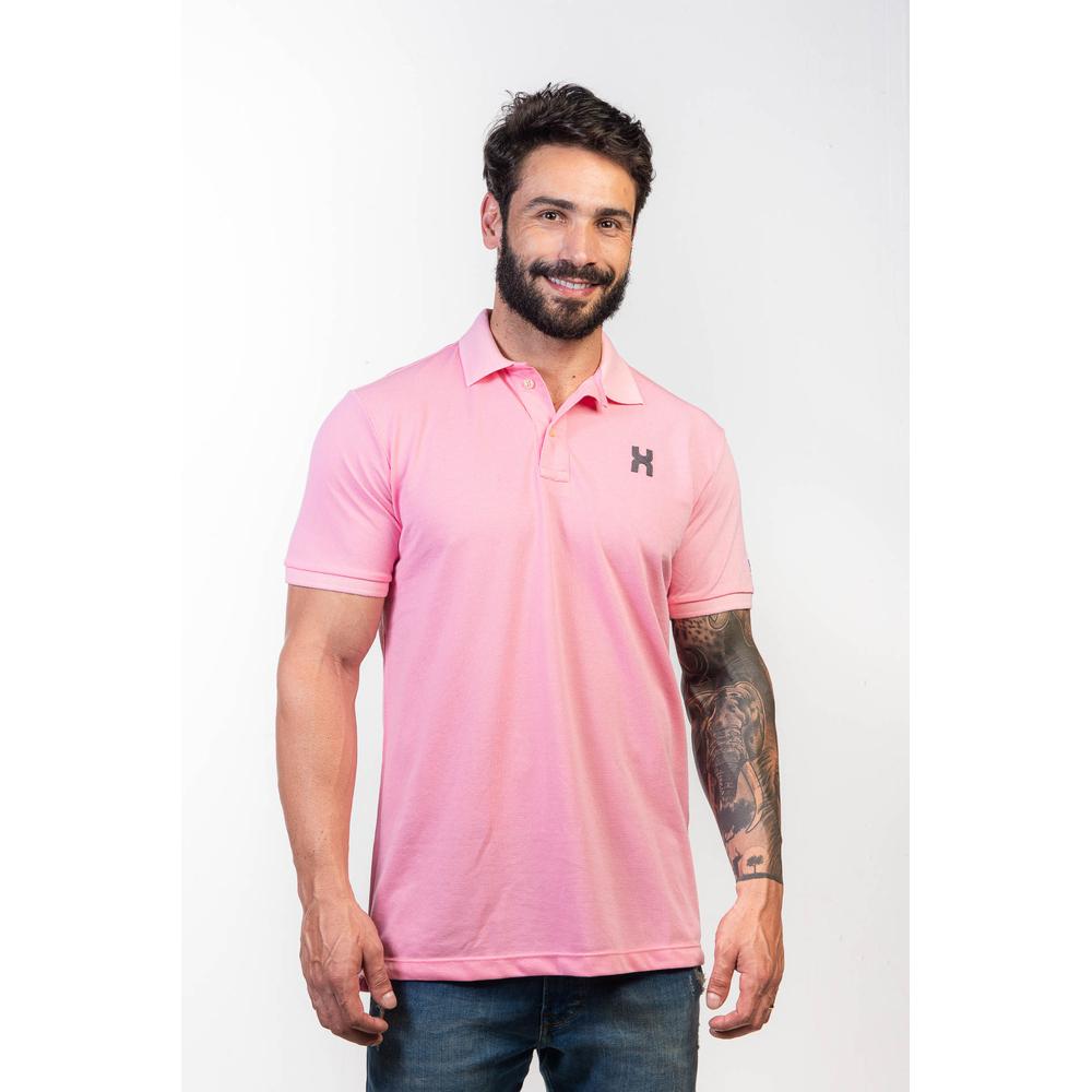 Camiseta Masculina Txc Gola Polo Algodão Lisa - Rosa