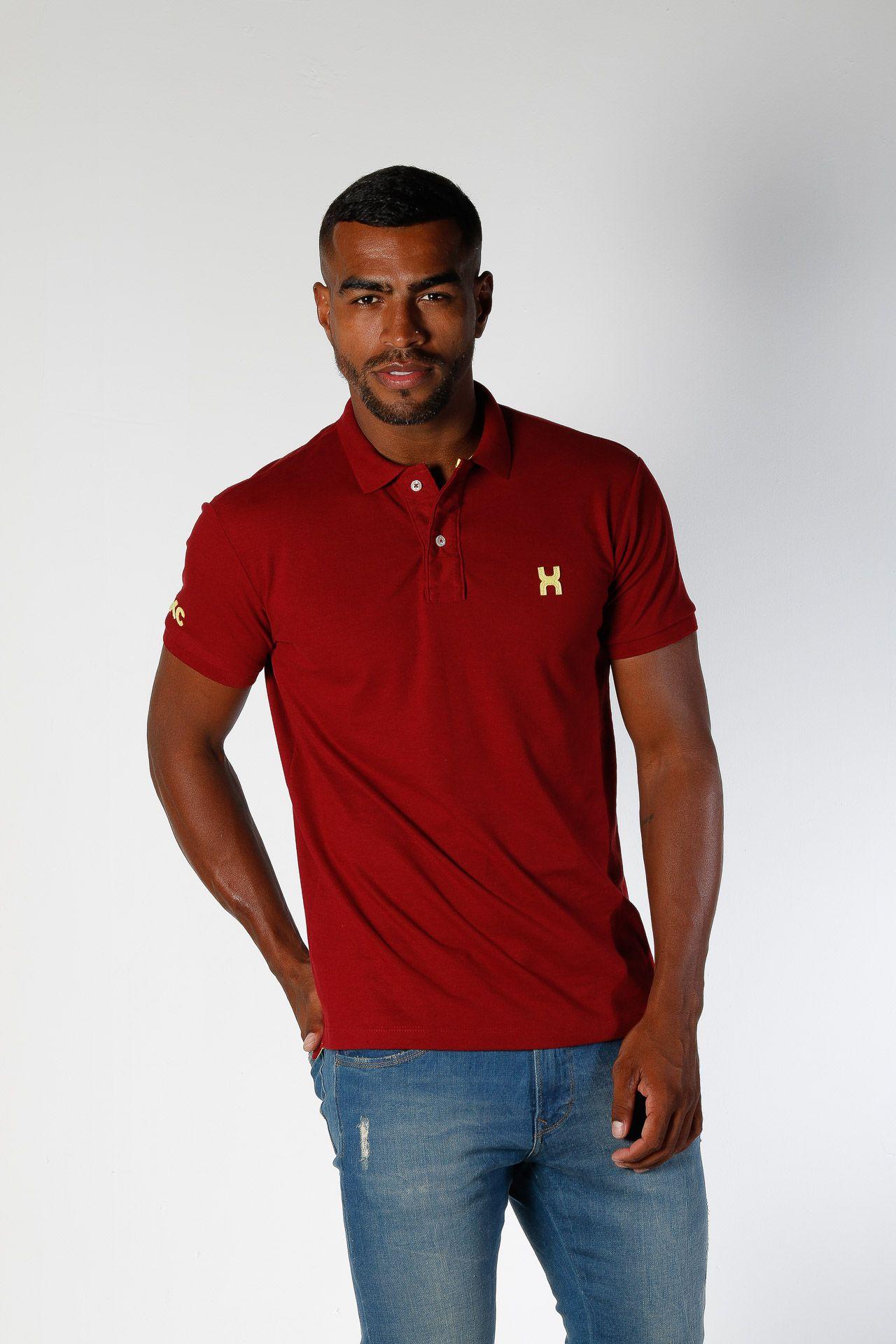 Camiseta Masculina Txc Gola Polo Algodão Lisa - Vermelho Bordô