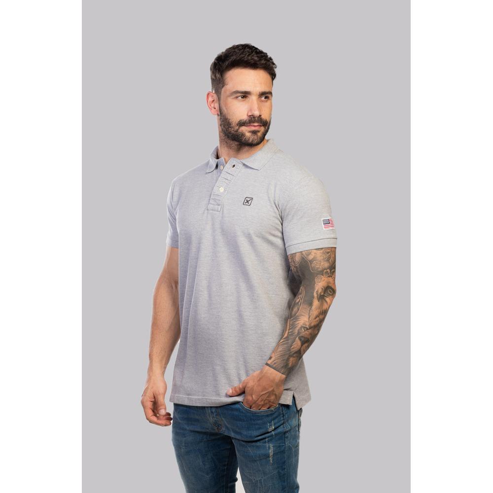 Camiseta Masculina Txc Gola Polo Algodão Mescla - Cinza