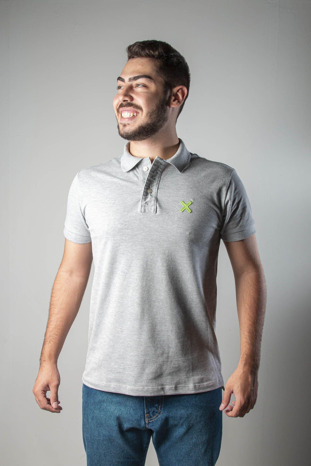 Camiseta Masculina Txc Gola Polo Algodão Mescla - Cinza Claro