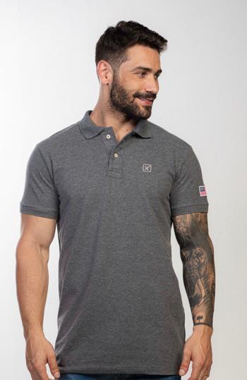 Camiseta Masculina Txc Gola Polo Algodão Mescla - Cinza Escuro