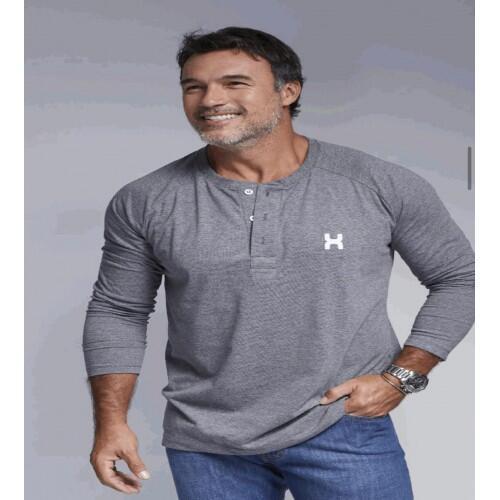 Camiseta Masculina Txc Manga Longa Algodão Lisa - Cinza
