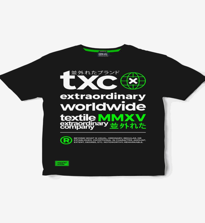 Camiseta TXC preta estampada