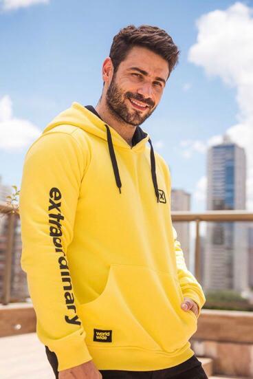 Moletom Masculino Txc Algodão/Poliéster Liso - Amarelo