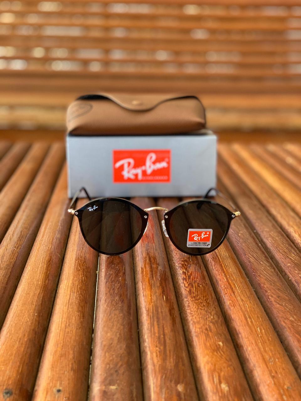 Óculos Masculino Ray Ban RB8 Termoplástico Liso - Preto