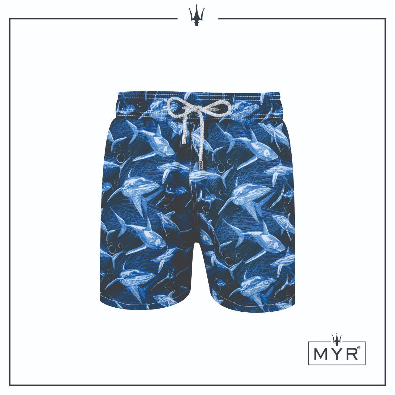 Short Masculino Myr Poliéster Estampado - Blue Shark