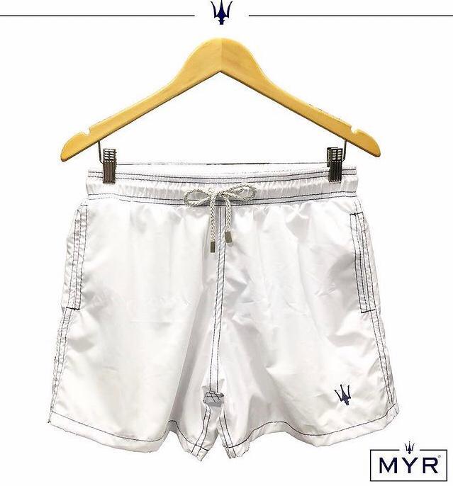 Short Masculino Myr Poliéster Liso - Branco