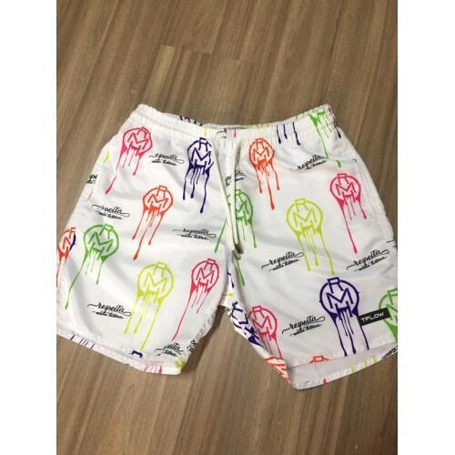 Shorts Masculino Tflow Poliéster Estampado - Branco
