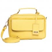 Bolsa baú couro texturizado amarela