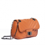 Mini bolsa matelasse chevron couro orange.