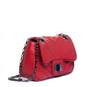 Mini bolsa matelasse chevron couro vermelho.