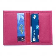 Porta cartões couro safiano pink.