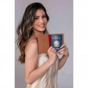Porta passaporte couro safiano caramelo