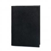 Porta passaporte couro safiano preto.
