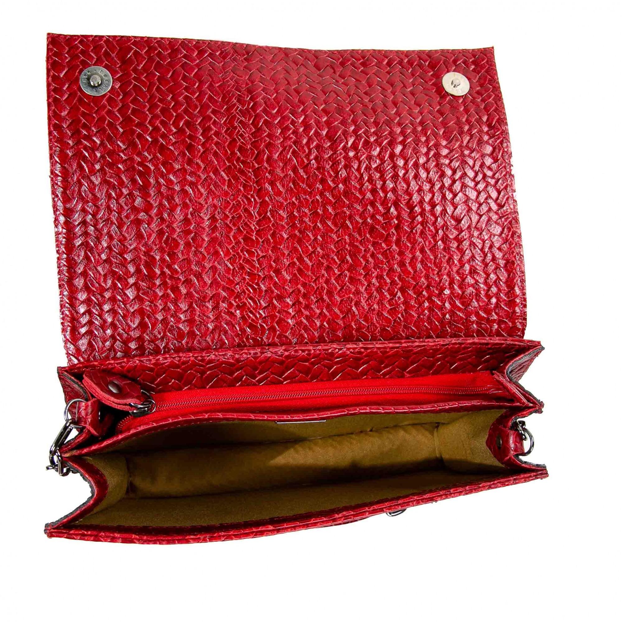 Bolsa estruturada couro tressê bordô