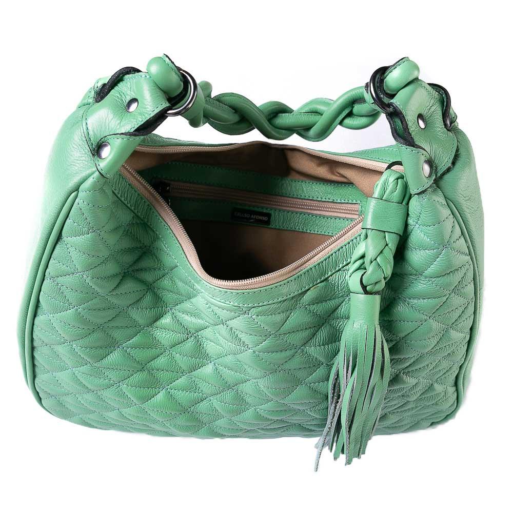 Bolsa hobo couro liso verde  - Cellso Afonso