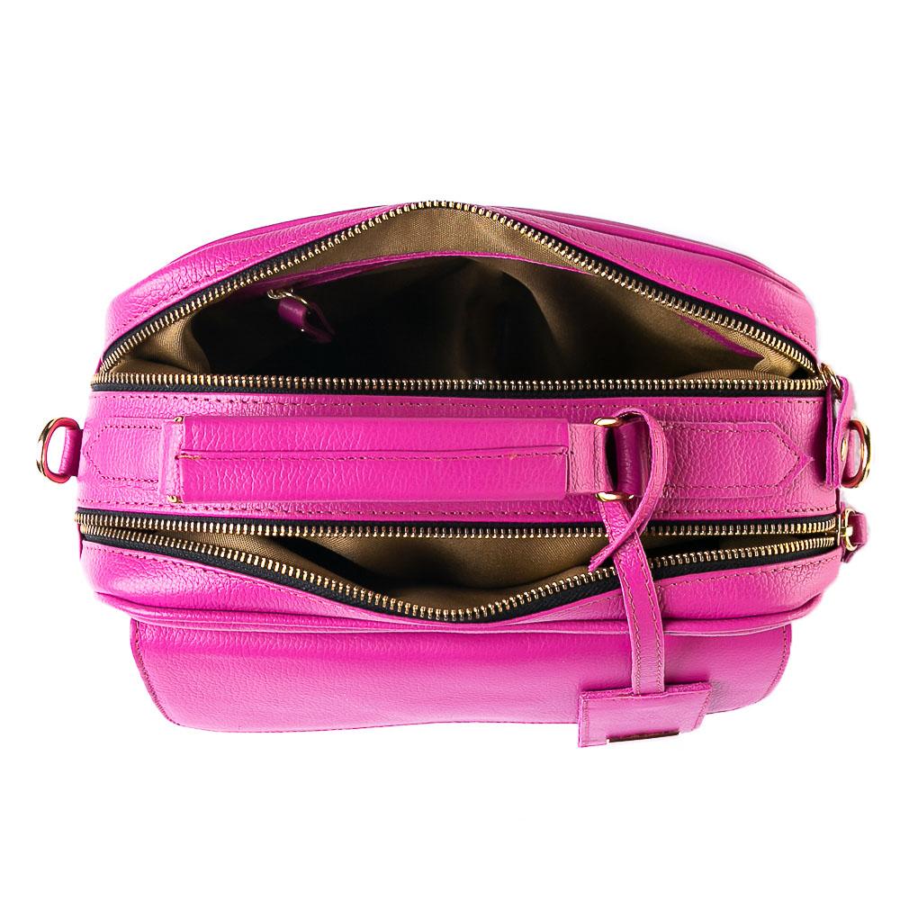 Bolsa baú couro pink.  - Cellso Afonso