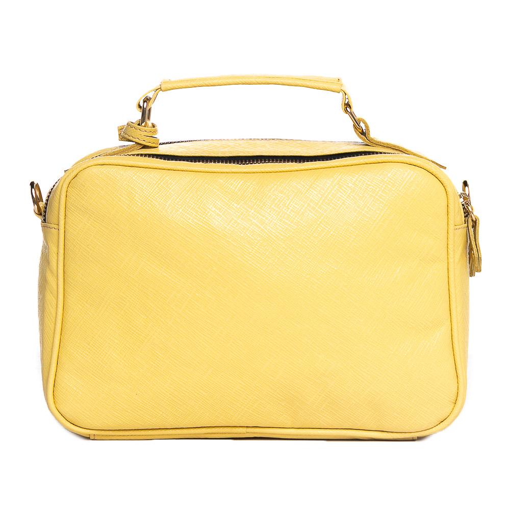 Bolsa baú couro texturizado amarela  - Cellso Afonso