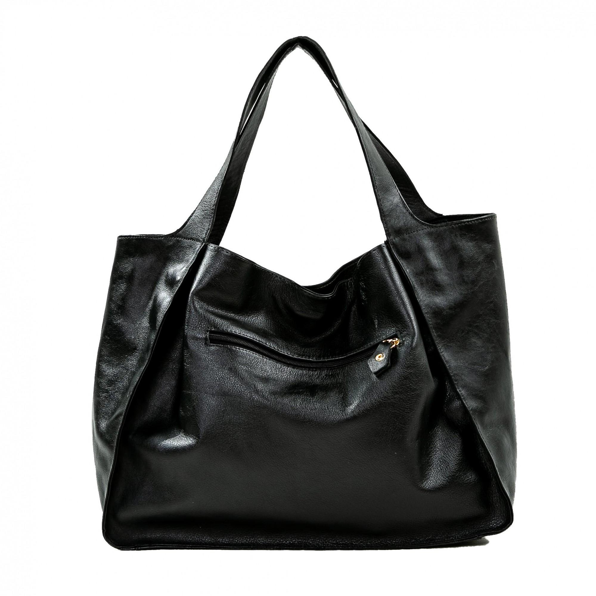 Bolsa sacola couro liso preta