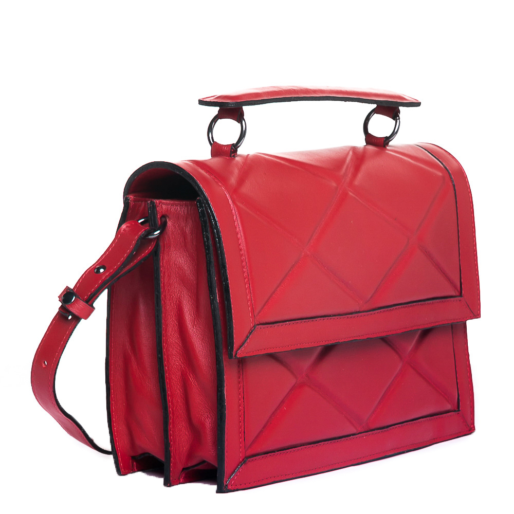 Bolsa Satchel  losangos couro vermelha  - Cellso Afonso