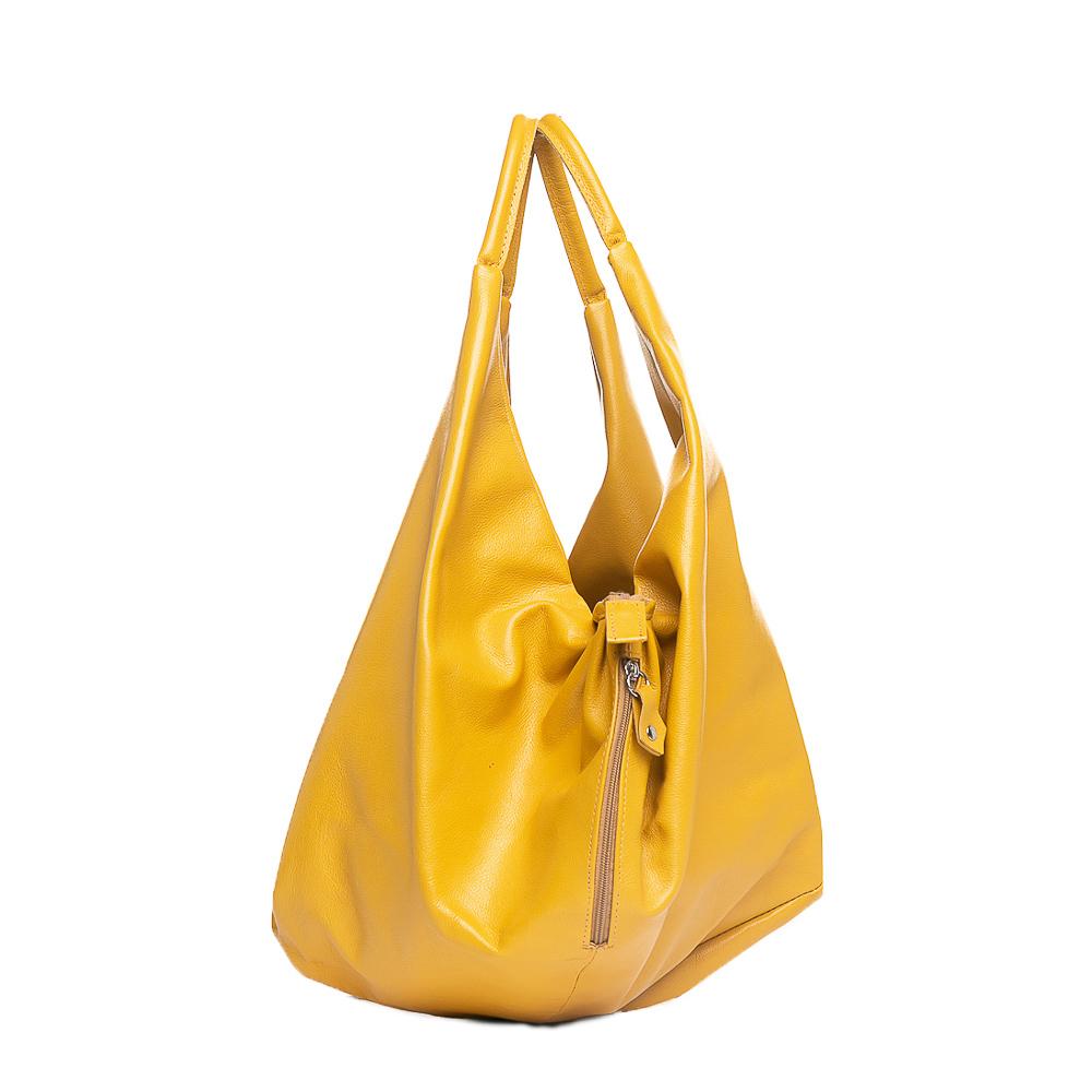 Bolsa tipo saco couro amarelo.  - Cellso Afonso