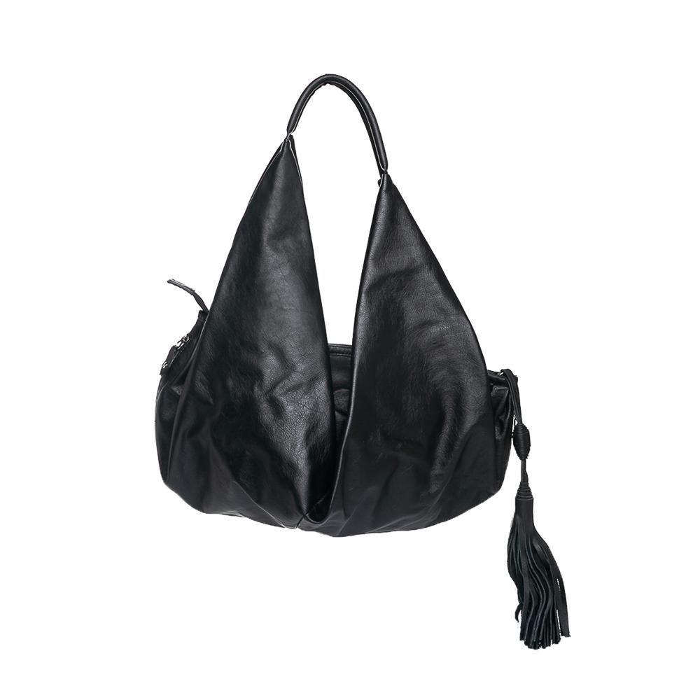 Bolsa tipo saco couro preta  - Cellso Afonso