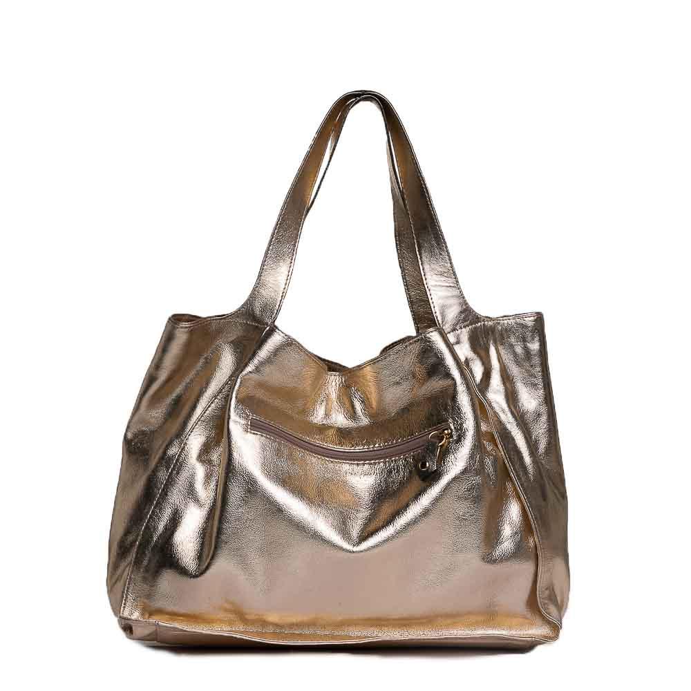 Bolsa sacola couro metalizado ouro.  - Cellso Afonso