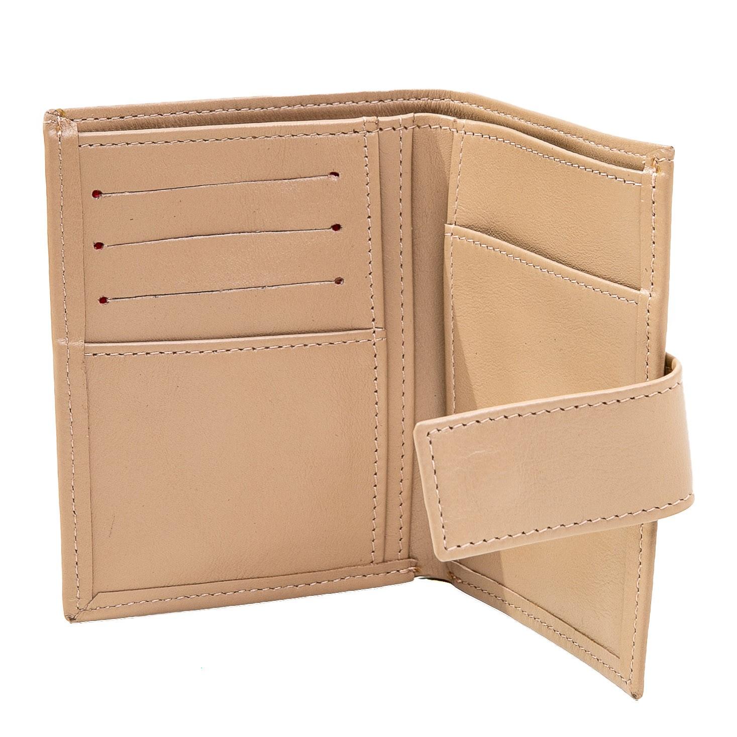 Carteira porta documentos couro liso amêndoa