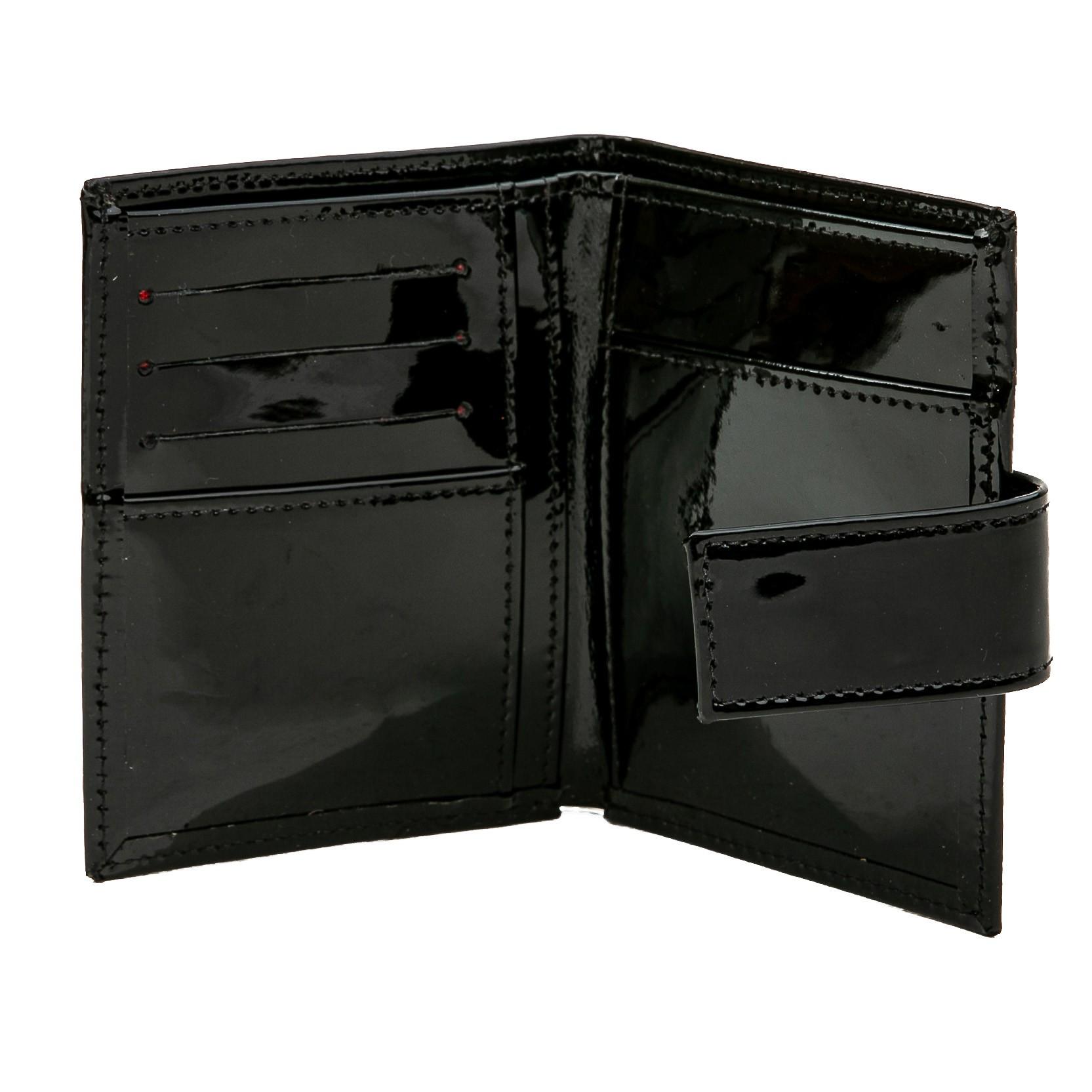 Carteira porta documentos couro verniz preta