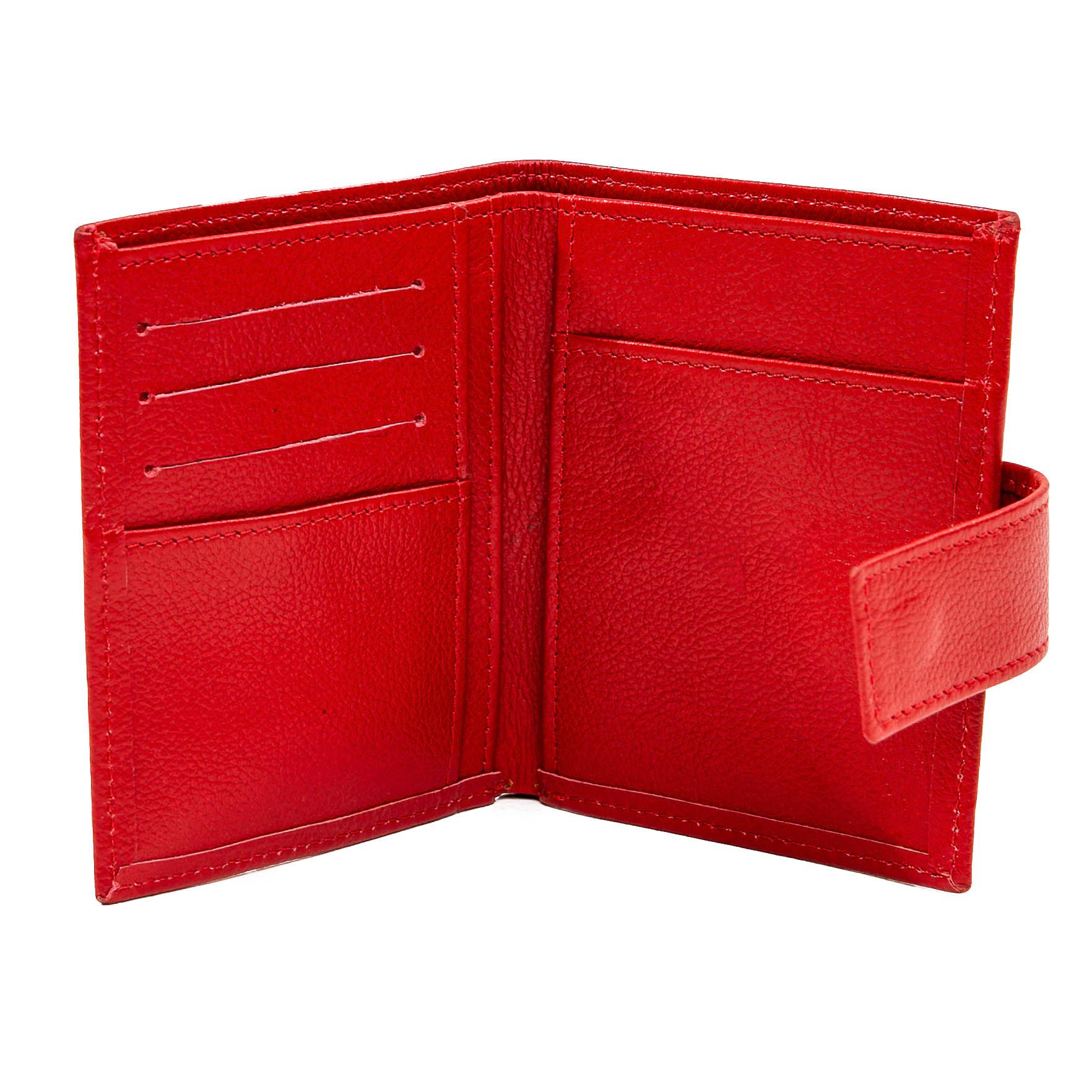 Carteira porta documentos couro liso vermelho  - Cellso Afonso
