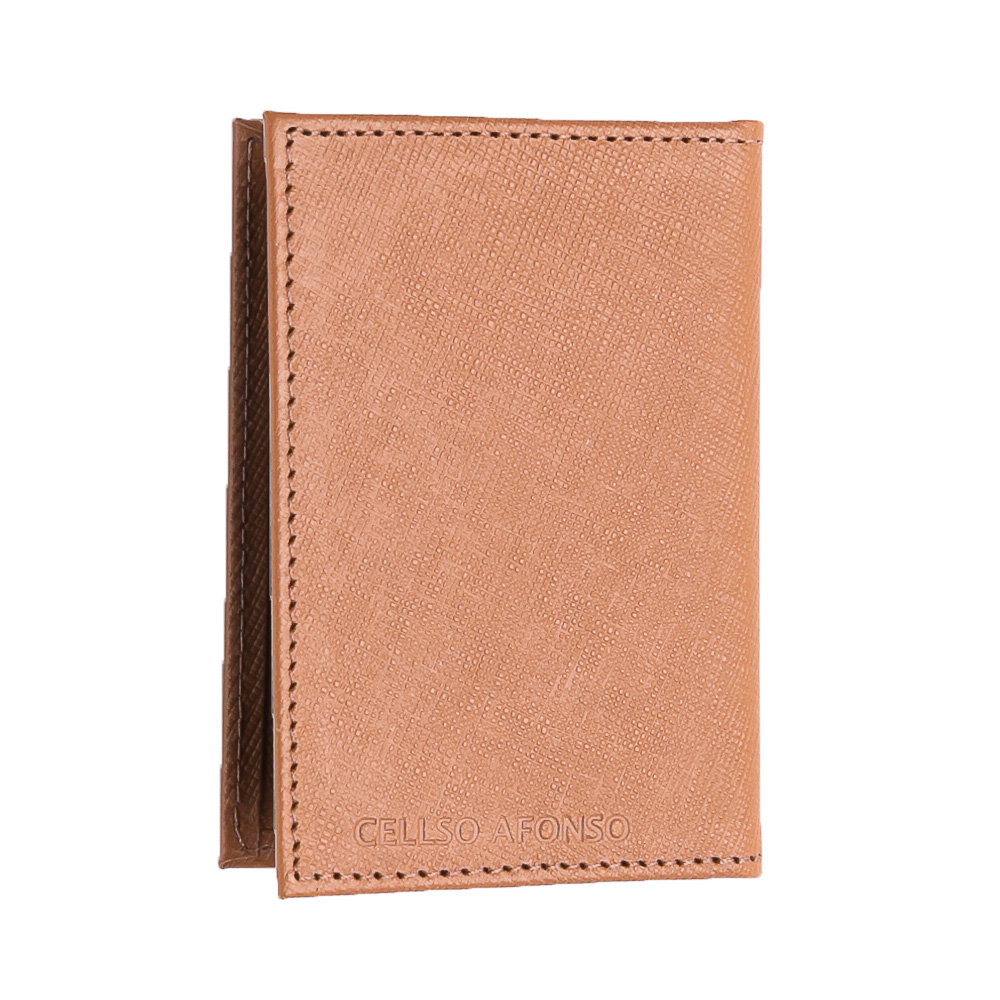 Porta cartões couro safiano caramelo  - Cellso Afonso