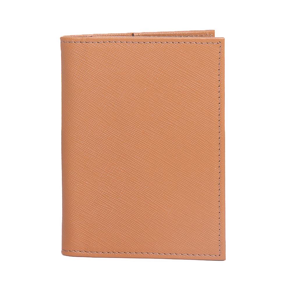 Porta passaporte couro safiano caramelo  - Cellso Afonso