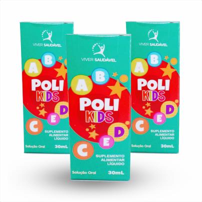 Poli Kids - Vitamina para Crianças de 1 à 10 anos 30 ml - 3 Unidades