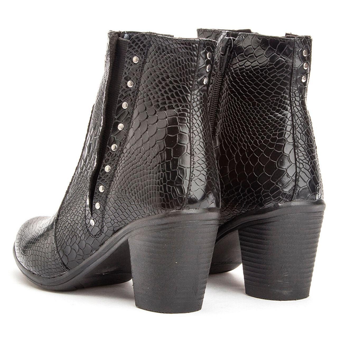 Bota Cano Curto Feminina Couro Confort Black